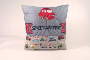 "Kissen ""Konstantinos mit Auto"", 40x40 cm"