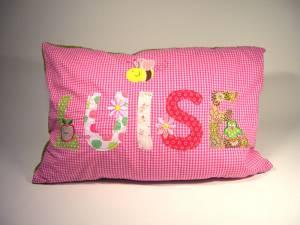 "Kissen ""Luise mit Apfel, Biene & Eule"", 40x60 cm"