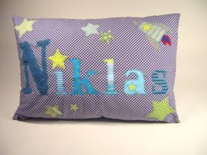 "Kissen ""Niklas mit Rakete & Sterne"", 40x60 cm"