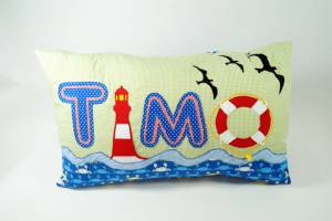 """Kissen """"Timo mit Leuchtturm"""", 40x60 cm"""