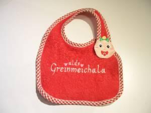 """Lätzchen """"Greinmeichala"""" mit Baby-Verschluss"""