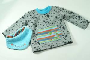 """Sweatshirt """"Sterne"""" & Halstuch mit Name"""