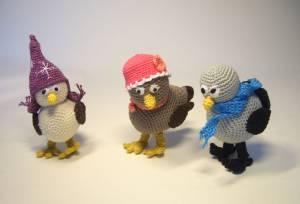 gehäkelte Wintervögel